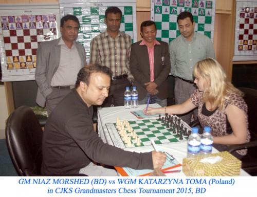 Round 1: GM Niaz Murshed playing against WGM Katarzyna