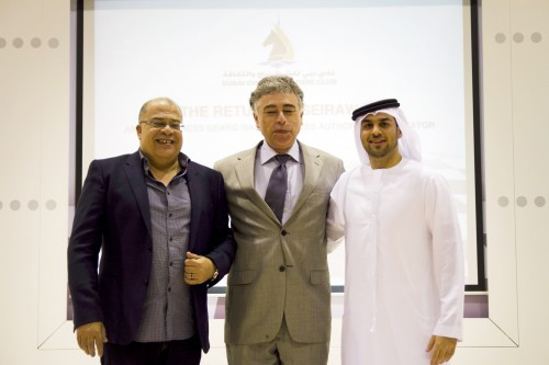 Executive Director of the club Mohamed Husseiny, GM Yasser Seirawan and Dubai Chess & Culture Club Manager Yahya Mohamed