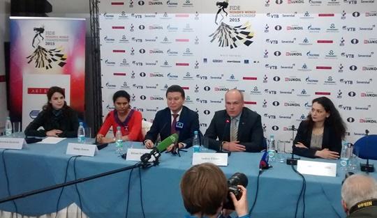 Press conference Karlovich, Koneru, Ilyumzhinov, Filatov, Kosteniuk