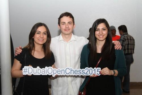 Turkish Team (WGM Kubra Ozturk, GM Alexander Ipatov, WGM Betul Cemre Yildiz) supporting Dubai Open Chess 2015