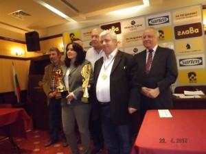 WIM Svetla Yordanova and GM Kiril Georgiev at the closing ceremony (photo credit: Emilia Dimitrova)