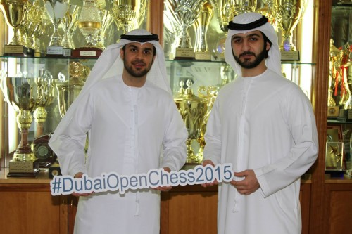 Tournament director Yahya Mohamed with the best Emirati GM Salem A.R. Saleh