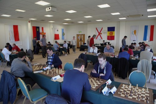 The tournament hall is adorned with the flags of all competing nations (the Faroese flag is out of shot) (photo credit: Sam Hamperl)