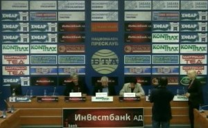 The press conference at BTA with Metodi Stoinev, Kiril Georgiev, and Simeon Stoichkov