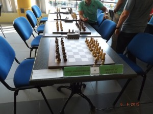 Photo from the National Team Championship where players boycott the round in support for Georgiev, Stoinev, and Stoichkov - no chess pieces were moved on the boards