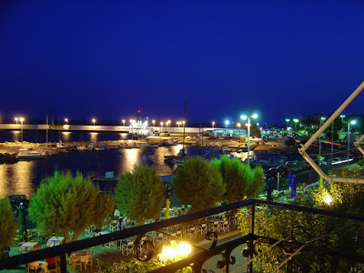 Night view of the port of Aghios Kirykos