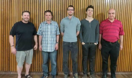 Organizer Hal Bond and CFC President Vlad Drkulec with top scorers IM Leonid Gerzhoy, IM Tomas Krnan, GM Eric Hansen