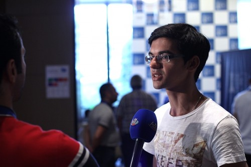 Anish Giri interviewed by the local TV