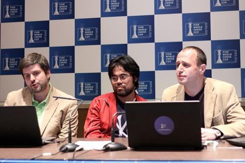 Peter Svidler with Hikaru Nakamura and Evgeny Miroshnichenko