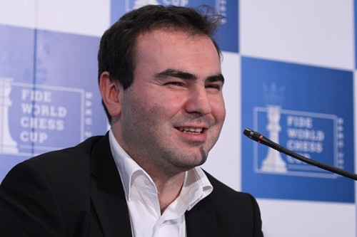 Pleased Shakhriyar Mamedyarov giving a press conference