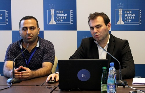 Shakhriyar Mamedyarov in one of his regular press conferences