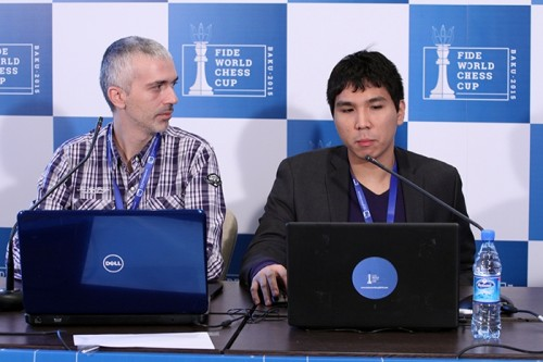 Wesley So started the press conference by praising the playing conditions in Baku