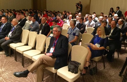 Technical meeting in progress with many familiar faces in the audience