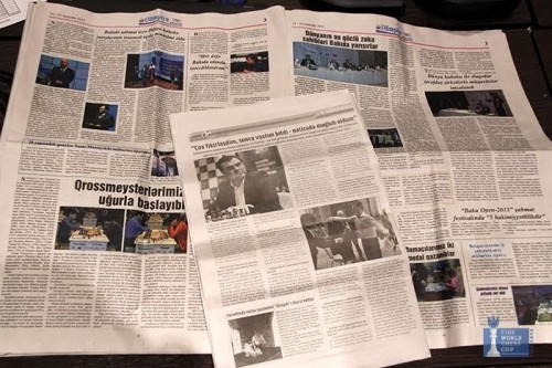 Full chess pages in local newspapers