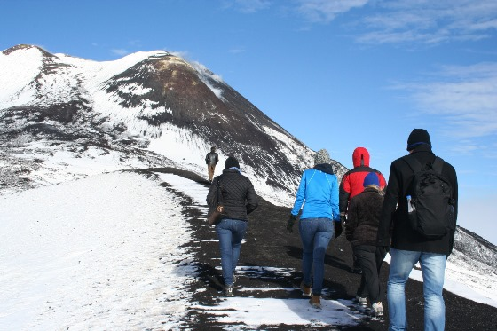 Trekking groups on the slopes of Etna