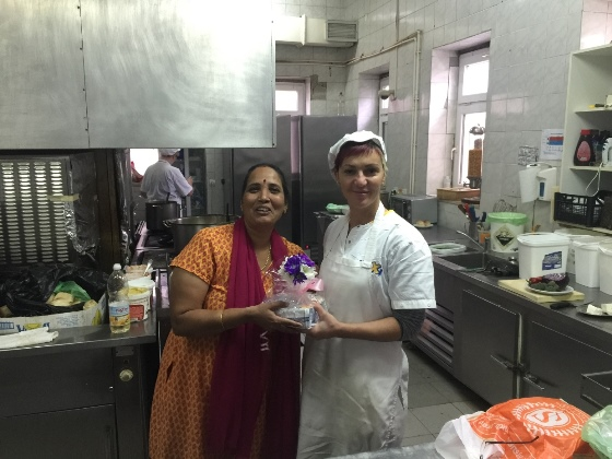 Exchange of the gifts in hotel kitchen