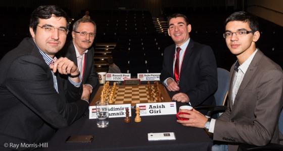 Last year's final - Kramnik and Russell Picot against Giri and Rajko Vujatovic