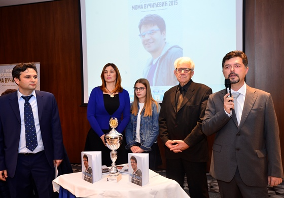 Tournament director Jovan Todorovic opening the event in presence of Vucicevic family