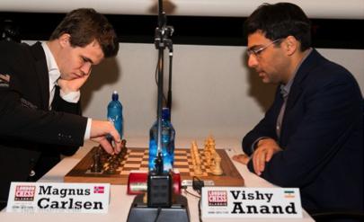 World Champion Magnus Carlsen facing his predecessor Vishy Anand