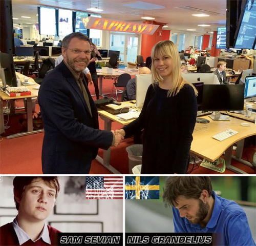 Photo: CHESS - here we go! Ingemar Falk, Chairman for Rilton Committee and Rebecka Martikainen, Expressen's project manager for the TV broadcast are agree. Expressen TV will broadcast a chess duel between Nils Grandelius and US super talented Sam Sevian. Date: January 5, at 8.30 PM CET. Photo: Private, Fox Sports and Lars OA Hedlund