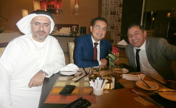 Tarek Al-Taher with hotel's General Manager, Mr Amr Adel (on the right) and the Sales Manager, Mr Waleed Mustafa (middle)
