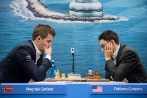 Carlsen and Caruana in a previous encounter in Wijk Aan Zee