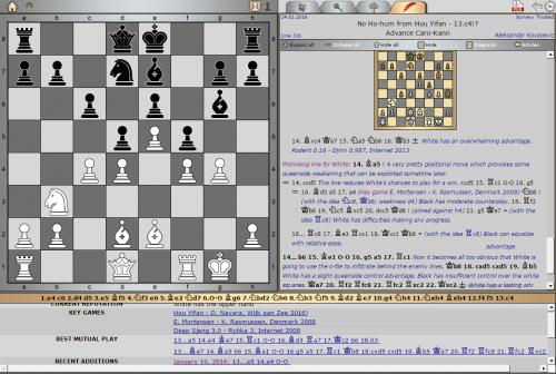 Opening Survey by GM Aleksandar Kovačević Caro-Kann Defense, Advanced Variation [Key game: Hou Yifan – D. Navara, Wijk aan Zee 2016]