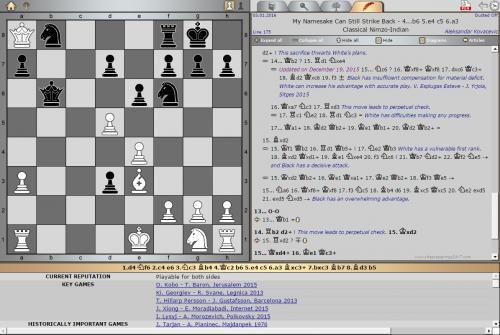 Updated Opening Survey by GM Aleksandar Kovačević Nimzo-Indian Defense, Classical Variation with 4... b6 [Key game: I. Lysyj – A. Morozevich, Poikovsky 2015]