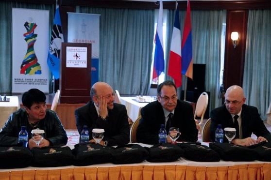 Chairman of the Appeals Committee Nona Gaprindashvili, FIDE CEO Geoffrey Borg, Chief Arbiter Takis Nikolopoulos and the tournament director Akaki Iashvili