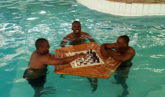 Chess in the swimming pool