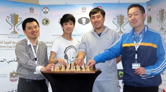 Chinese men from left, Zhou Jianchao, Lu Shanglei, Bu Xiangzhi and Wei Yi.