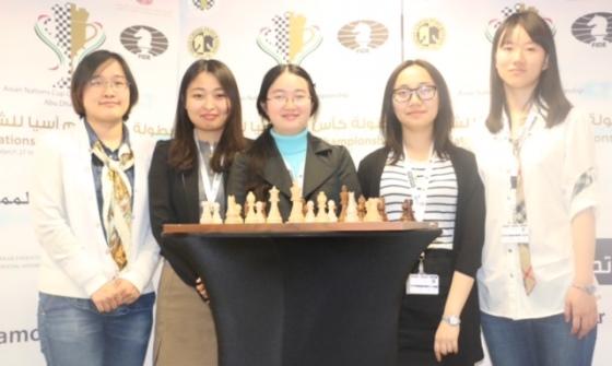 Chinese women from left, Zhao Xue, Ju Wenjun, Tan Zhongyi, Lei Tingjie and  Guo Qi