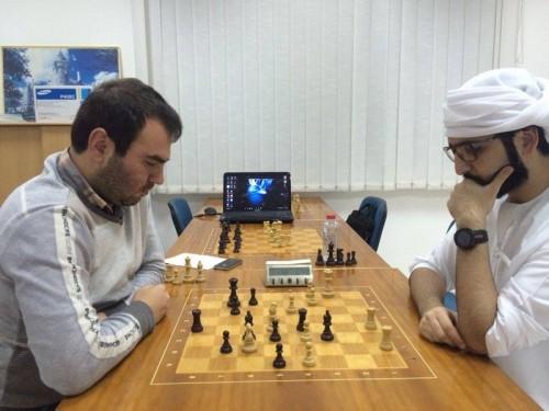 Grandmasters Shakhriyar mamedyarov and Salem AR Saleh playing blitz