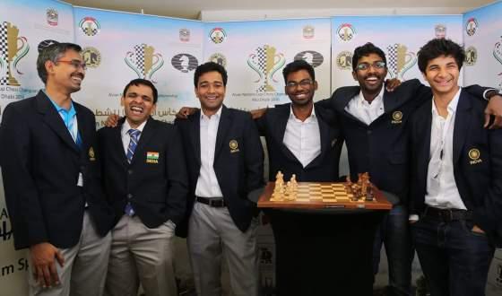 The champion Indian team, from left, captain GMs R.B. Ramesh, Krishnan Sasikiran, Deep Sengupta, S.P. Sethuraman, B. Adhiban and Vidit Santosh Gujrathi