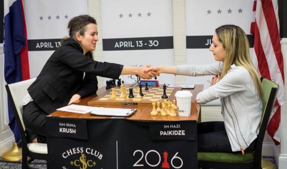 Irina Krush congratulates Nazi Paikidze