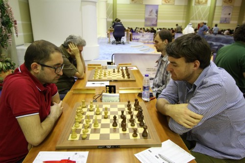 The game between Grandmasters Mustafa Yilaz and Gawain Jones ended in a draw