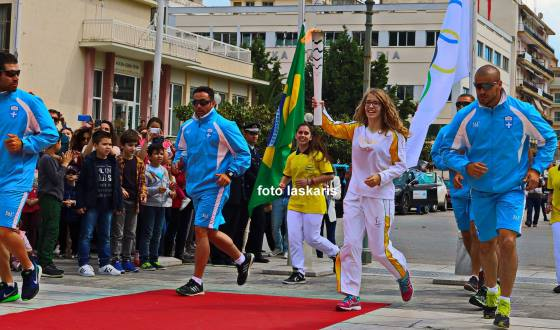 Stavroula Tsolakidou carries Olympic torch in Kavala