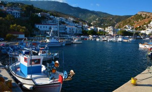 A view of the port of Aghios Kirykos, the capital town of Ikaria, where Ikaros 2016 is held