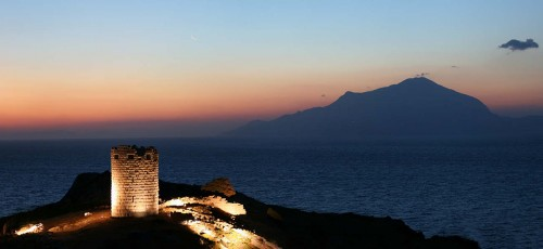 A view of Drakano tower at the north-east end of Ikaria