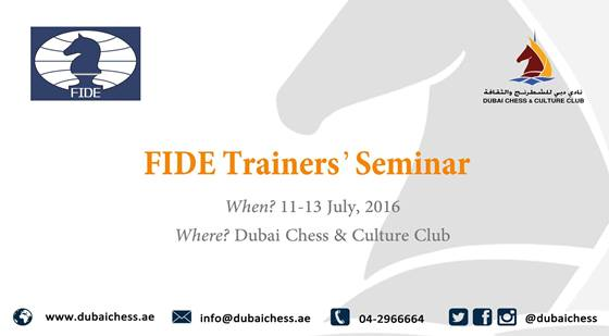 Dubai Chess Club organises Fide Trainer's Seminar