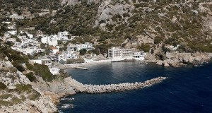 A view of the the village of Therma (famous for its thermal springs and spas) from the sea