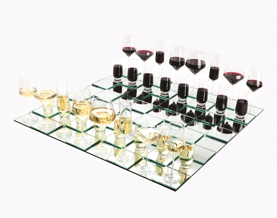 Wine Glass Chess Set and Board (Exhibition replica)