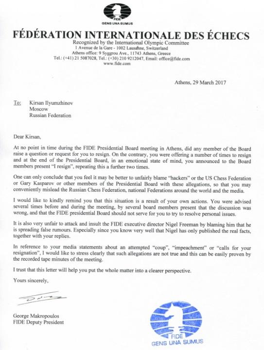 Letter of Georgios Makropoulos to Kirsan Ilyumzhinov