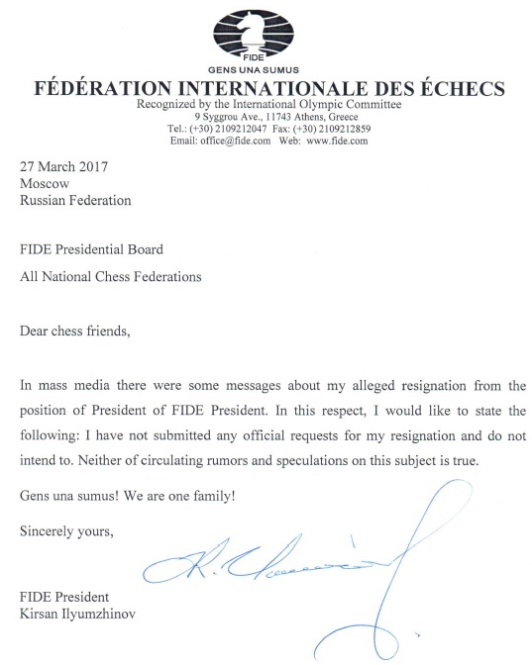Letter of Kirsan Ilyumzhinov