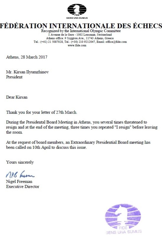 Letter of Nigel Freeman to Kirsan Ilyumzhinov