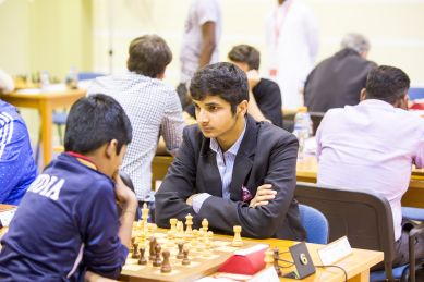 GM Vidit Gujarathi (IND) is one of the leaders with 3/3 points