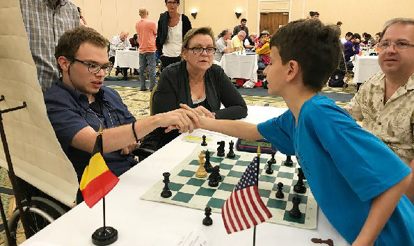 Paul (USA) and Dorian (Belgium) shake hands after the game