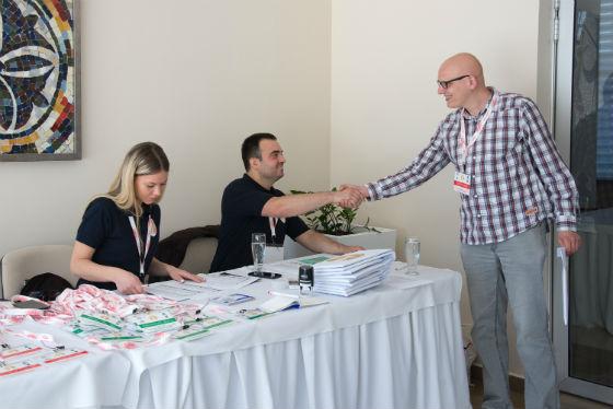 WIM Sandra Djukic and Mihajlo Obrenovic registering the participants