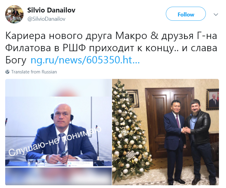 Danailov supports Ilyumzhinov in his race with Filatov