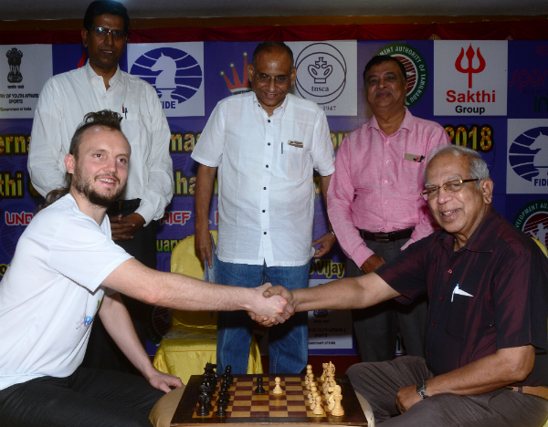 GM Timur Gareyev, B Murugavel, Vice President, Tamil Nadu State Chess Association, D V Sundar, Vice President, FIDE, P Stephen Balasamy, General Secretary, Tamil Nadu State Chess Association, Chief Guest International Master Manual Aaron